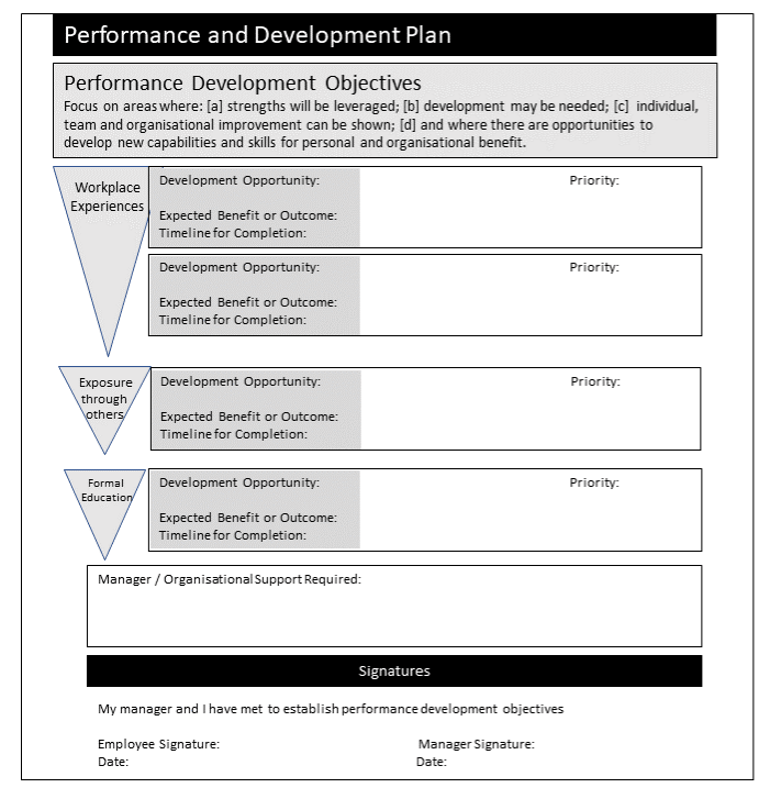 Sample Development Plan to help focus on workplace development activities (copyright Charles Jennings)