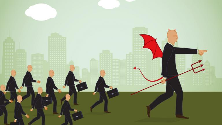illustration of the devil leading a troop of identical business men