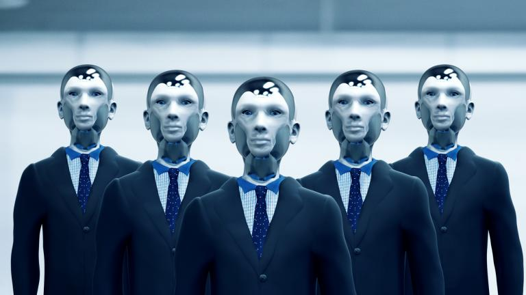 robot workers in suits