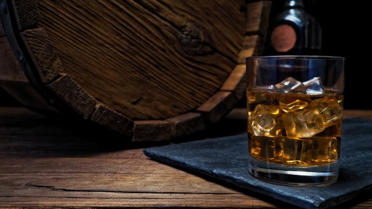 Whiskey on bar counter