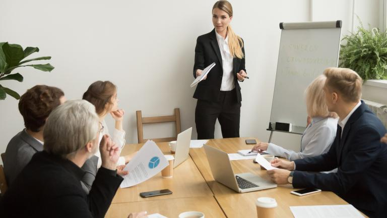 employees in a training session