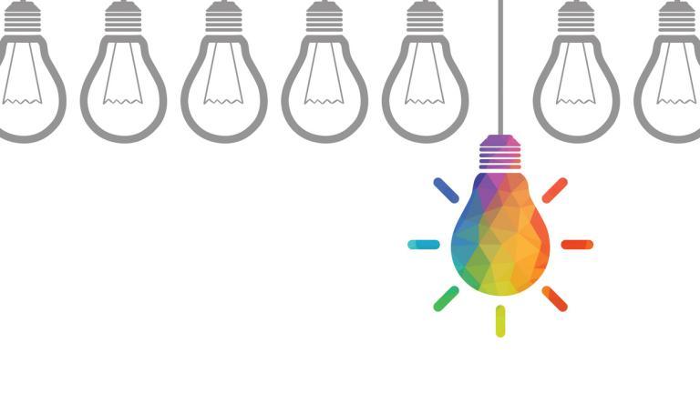 new idea concept - colourful lightbulb