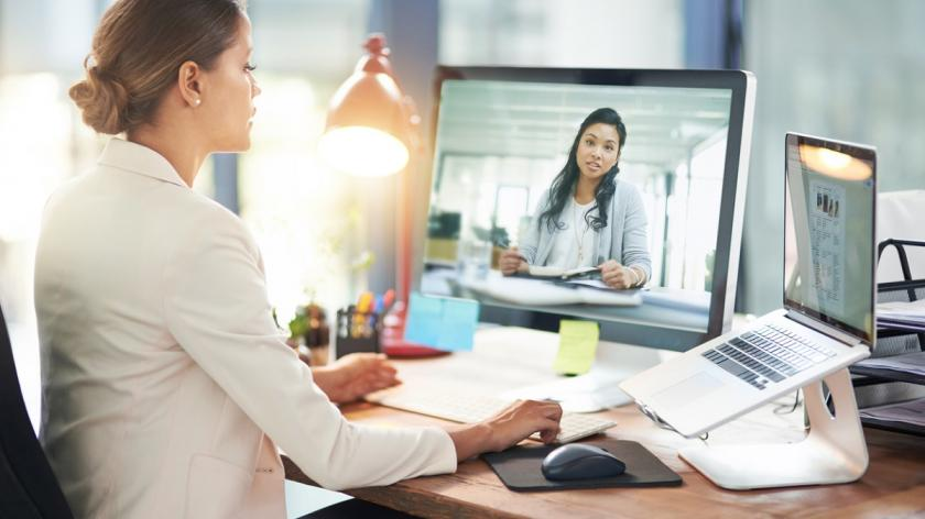 Virtual worker on video conference call