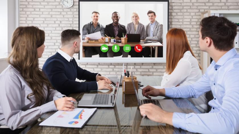 video conference in meeting room