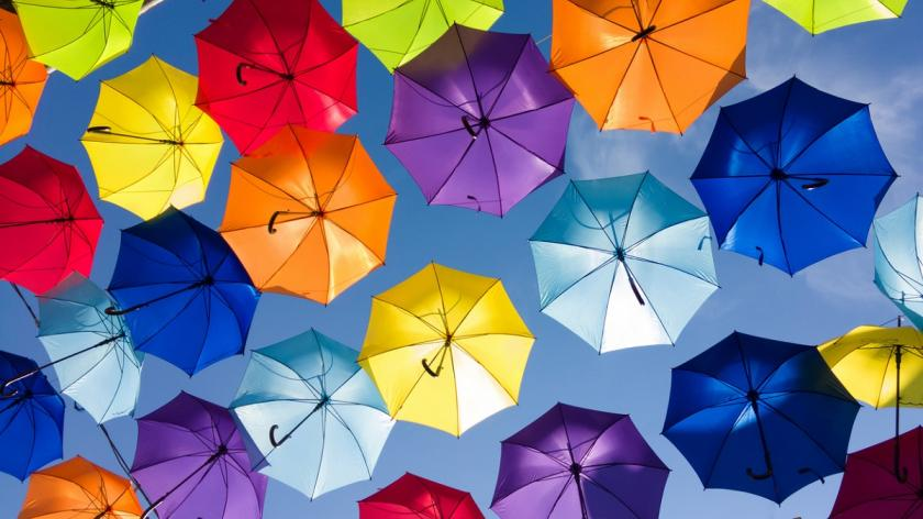 Colourful umbrellas showing diversity