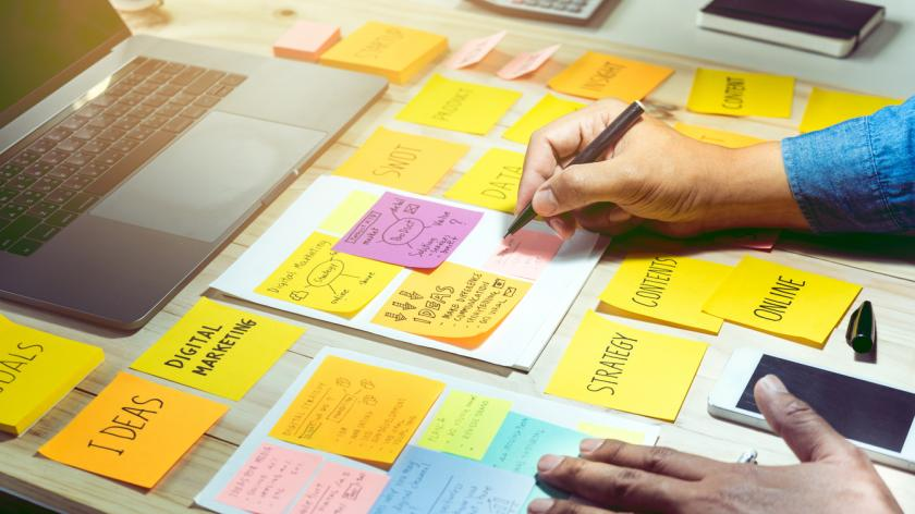 Business brainstorming and communication marketing plan concept
