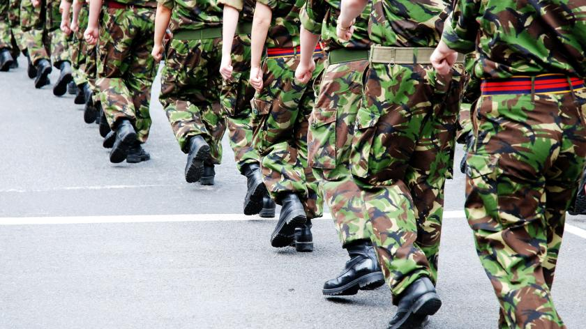 Army soldiers marching