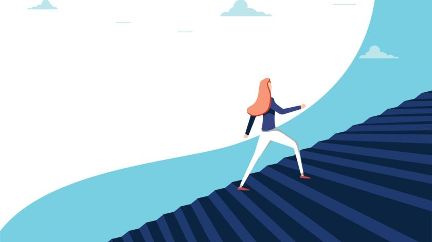 Buisnesswoman climbing career steps vector concept. Symbol of ambition, motivation, success in career promotion.