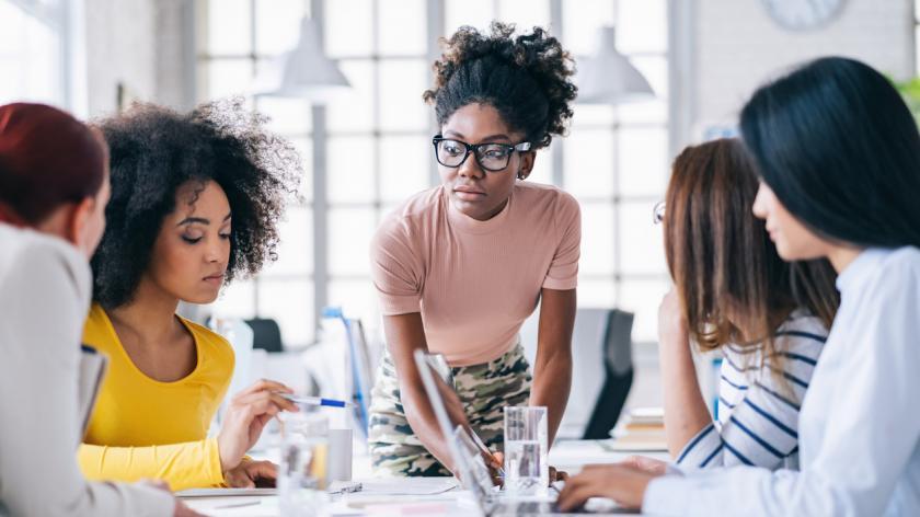 all female leadership team with black female leader