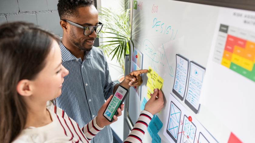 Designers drawing website ux app development. User experience concept.