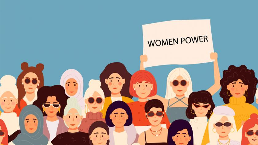Set of vector illusttation. 8 march, International Women's Day. Feminism concept template design.