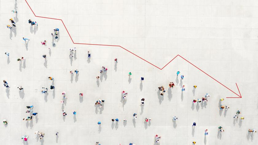 Crowd from above forming a falling chart