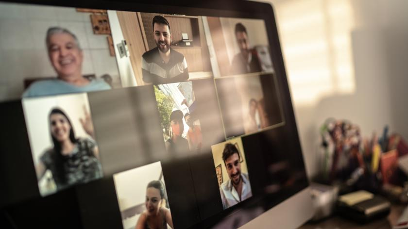 video conference shown on ipad