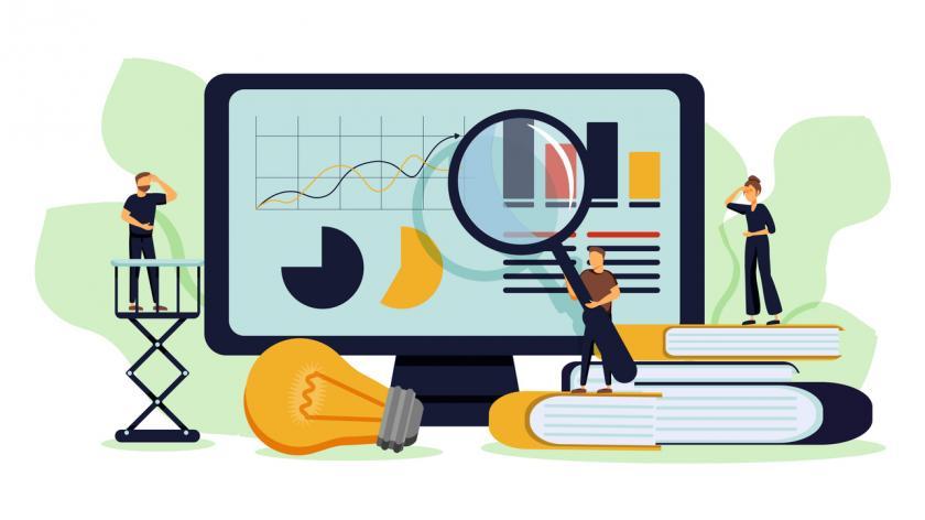 vector illustration on the theme of Data analysis education, economic literacy internet courses