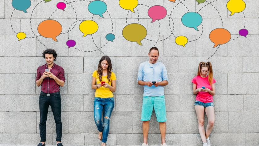 a line of people on smartphones with speech bubbles over their heads