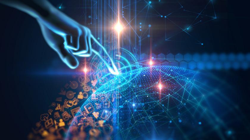 Virtual human hand on technology background