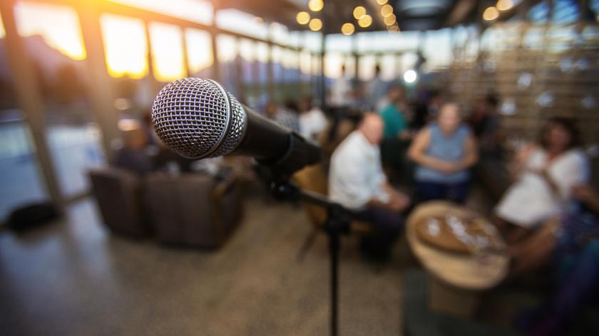 Mic set up in front of audience