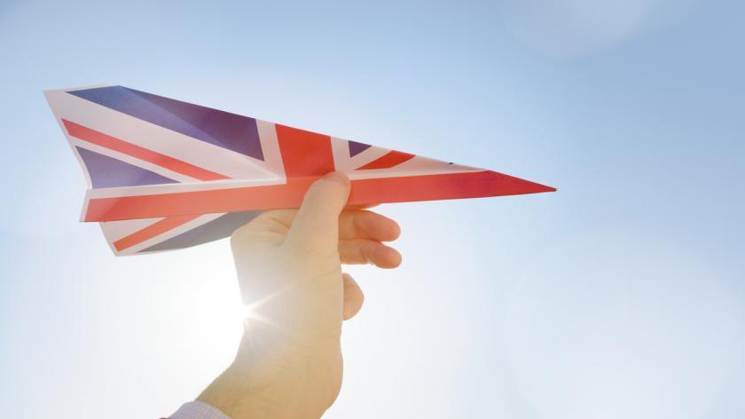 union jack flag on a paper aeroplane