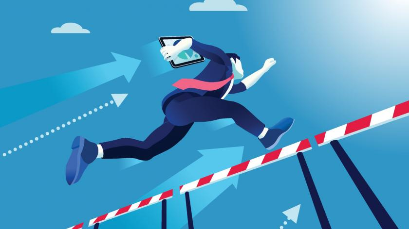 business man in suit jumping hurdles