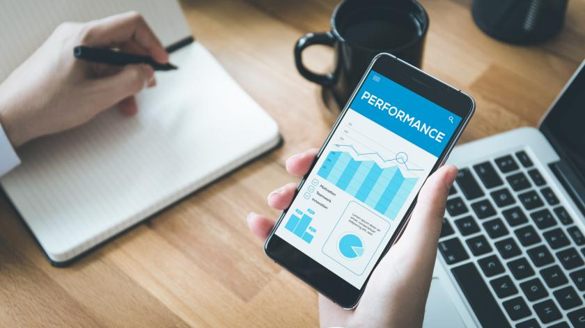performance management on an iphone screen
