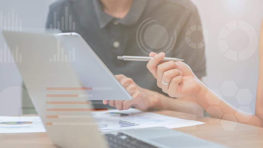 close up businesswoman hand pointing on tablet pad for explaining company profit with colleagues partner with double exposure of statistic chart stock infographic