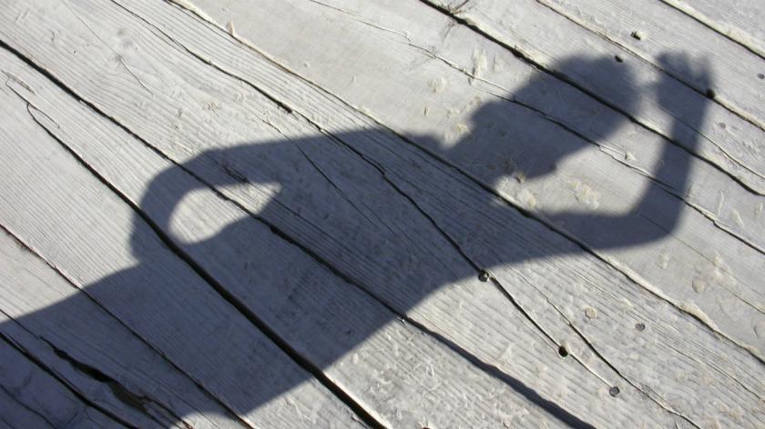 Shadow of someone waving