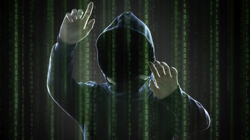 A hacker in cyberspace