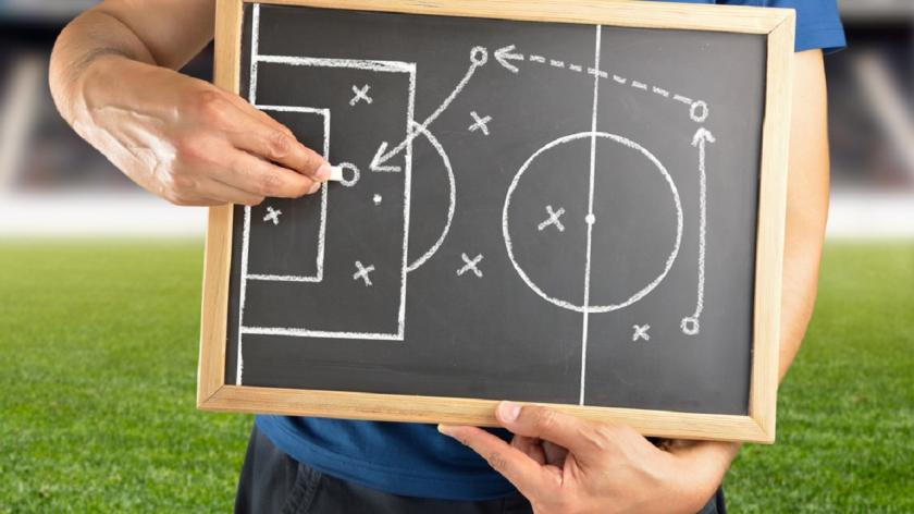 Football expert explaining tactics