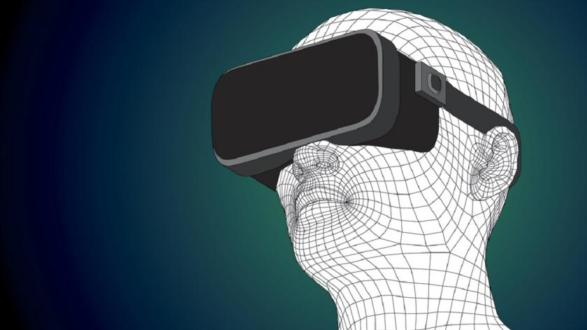 VR illustration of person wearing headset