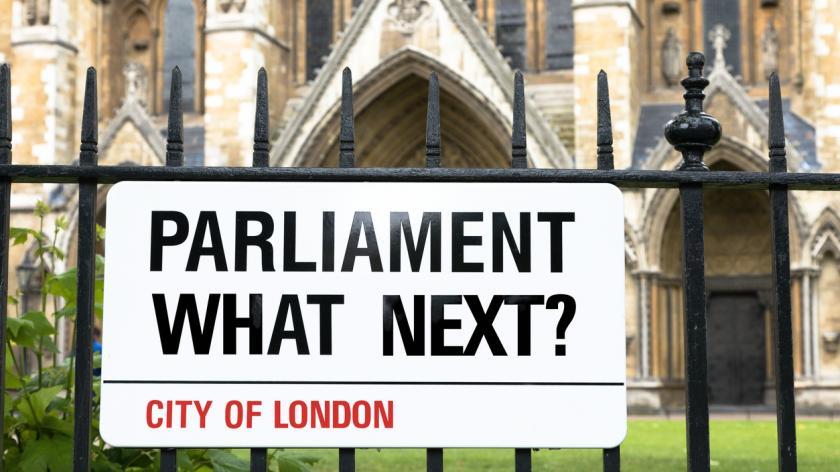 Parliament, what next - street sign