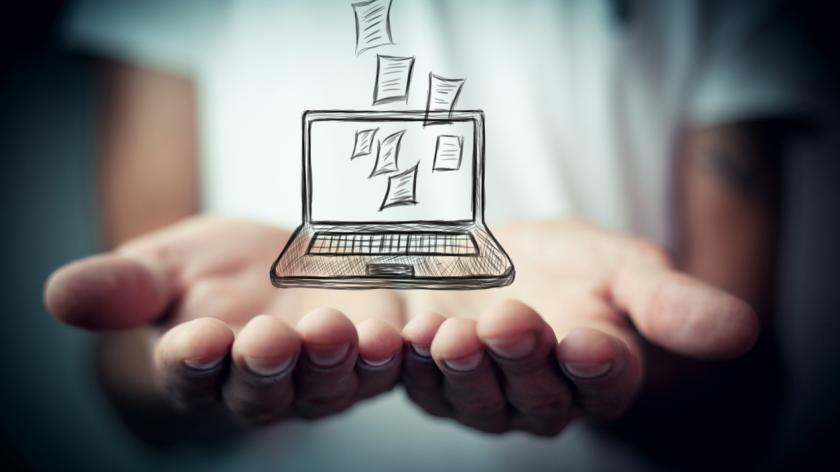 Downloading digital resource on laptop