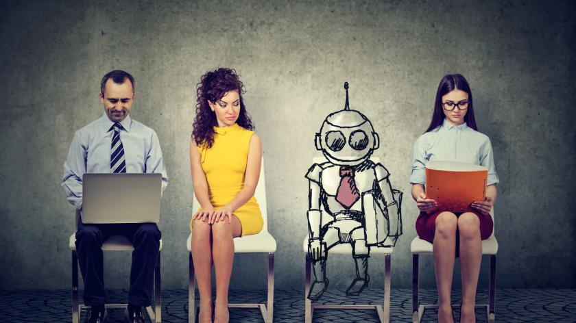 Cartoon robot sitting in line with applicants for a job