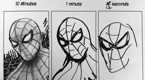 Speed challenge: 10 minutes   1 Minute   10 seconds - Drawing Spiderman